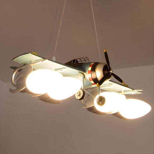 Cream Glass Bullet Chandelier Lamp with Aircraft Design Cartoon 4-Light Green Pendant Lighting Chandeliers 2vTkK