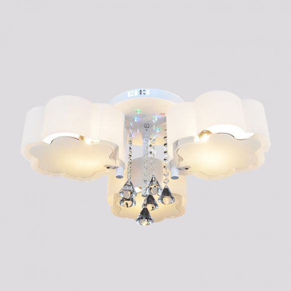 Contemporary Bloom Flush Mount Lamp 3/5 Heads White Glass Flush Light with Crystal Draping Close To Ceiling Lights 2OTWm