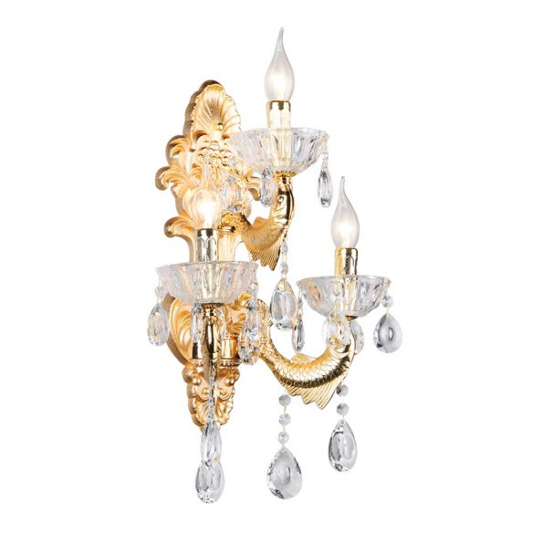 Classic Candle Wall Mount Lamp 3-Light Crystal Wall Light in Gold with Fish-Shaped Metal Arm Wall Lamps & Sconces LNVoi