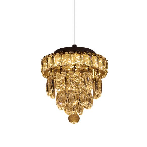 Cut Crystal LED Pendant Lighting Modern Chrome Tiered Tapered Dining Table Suspension Lamp Pendant Lights JgR6p