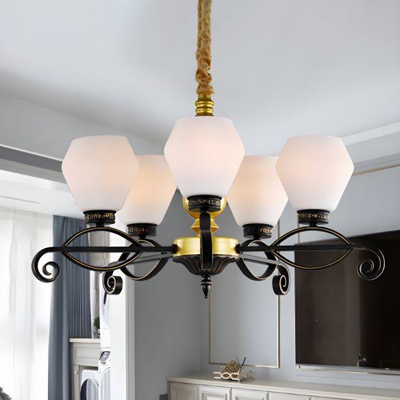 5-Head Opal Glass Chandelier Light Antique Black Hexagon Living Room Hanging Lamp Chandeliers fZS1r