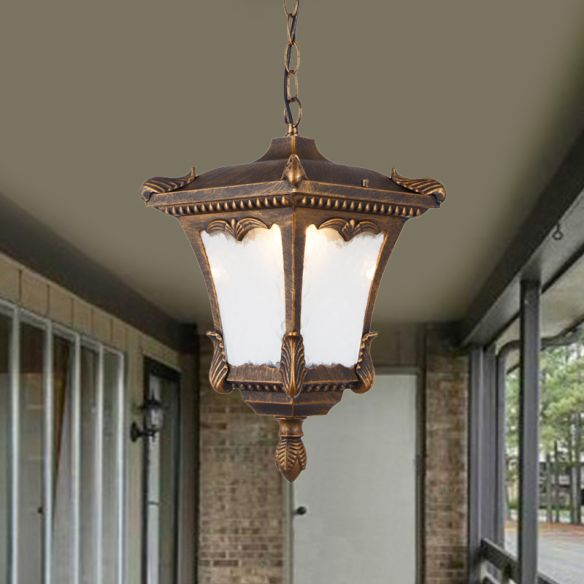 1 Bulb Suspension Light Lodge Patio Hanging Lamp Kit with Lantern Clear Ripple Glass Shade in Bronze/Rust Pendant Lights gv8sw