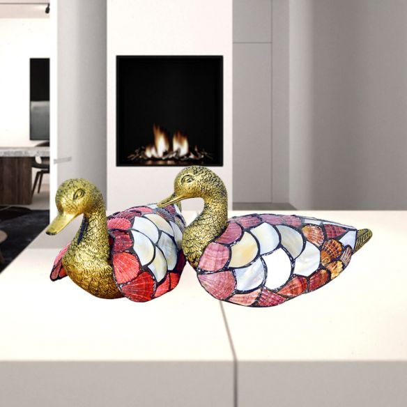 1-Bulb Mandarin Duck Nightstand Lamp Tiffany Creative Brass Shell Table Lighting, Pack of 2 Table Lamps JEWgh