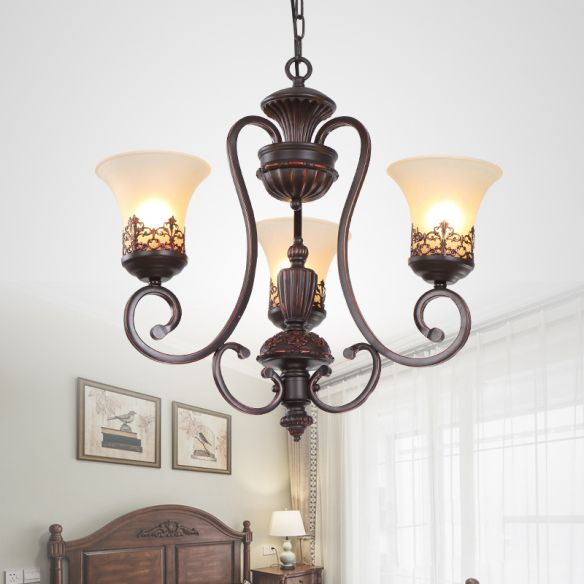 Rural Style Swirled Arm Hanging Chandelier 3/6-Bulb Metallic Suspended Lighting Fixture in Red Brown Chandeliers t8Cqh