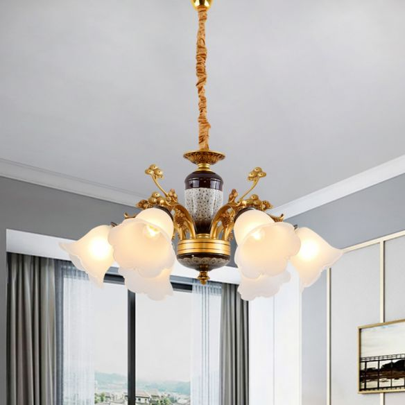 Antique Swooping Arm Chandelier Light 6/8/10 Bulbs Metal Ceiling Lamp in Black-Gold with Blossom Opal Glass Shade Chandeliers uhwKX