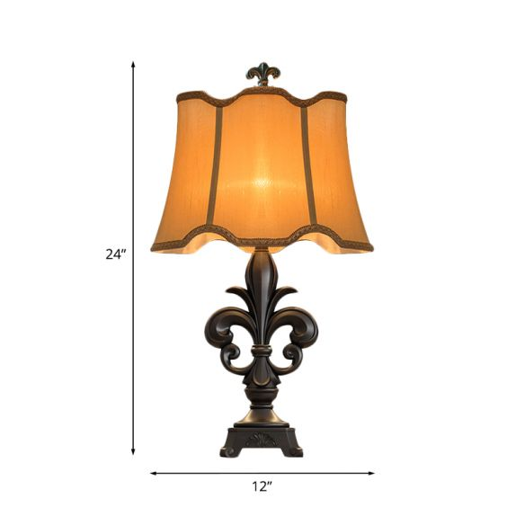 Scalloped-Trim Fabric Table Lighting Countryside 1-Light 12