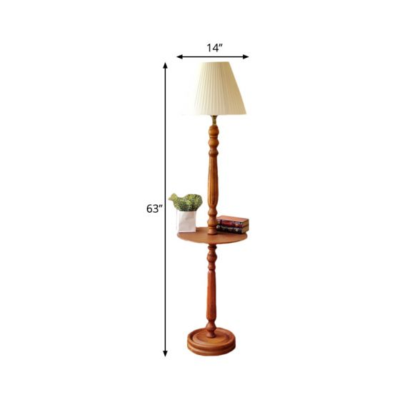 Wood Brown Floor Lamp Baluster Design 1 Bulb Traditional Style Floor Light with Conical Fabric Shade Floor Lamps EIeyb