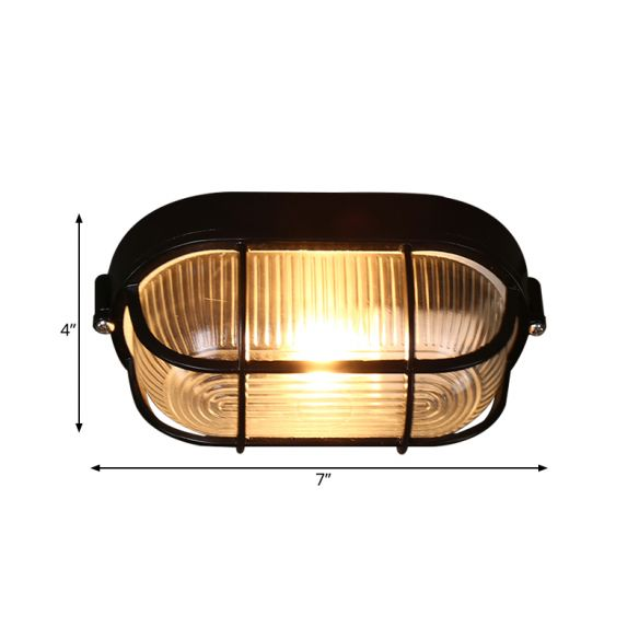 1 Bulb Half-Capsule Mini Flush Light Farmhouse Black Ribbed Glass Ceiling Lamp with Wire Cage Close To Ceiling Lights u0WYj