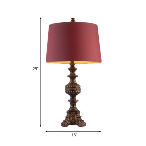 Rose Red Drum Nightstand Light Traditional Fabric 12