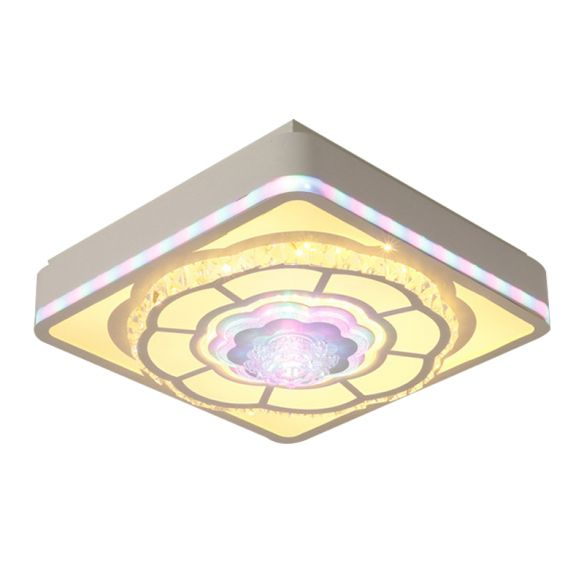 Square Bedroom Close to Ceiling Lamp Nordic Inserted Crystal White Flush Mount Light Fixture with Floral Design Close To Ceiling Lights Preif