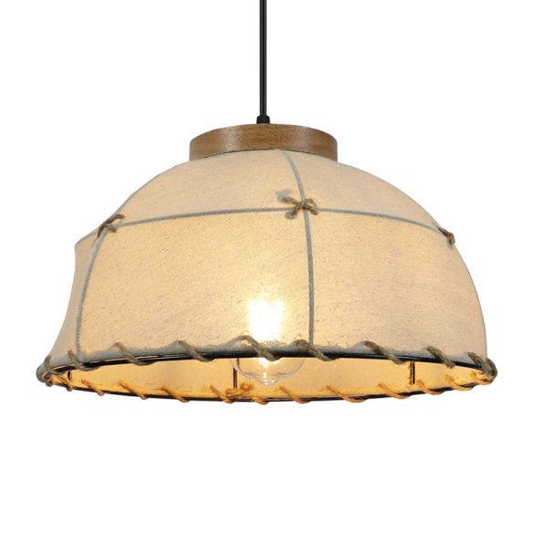 Flaxen 1-Bulb Drop Pendant Retro Style Fabric Dome Shade Ceiling Light for Restaurant, 14