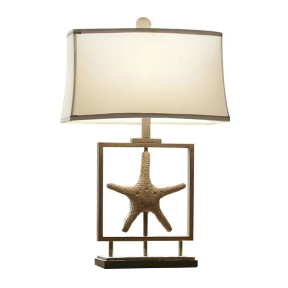 1 Bulb Table Stand Lamp Rustic Starfish Resin Night Light with Rectangle Fabric Shade in White Table Lamps uXBRe