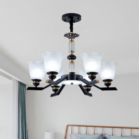 Frosted Glass Black Chandelier Lighting Floral Shade 3/6/8-Head Rural Style Hanging Pendant Light Chandeliers 1Weu0