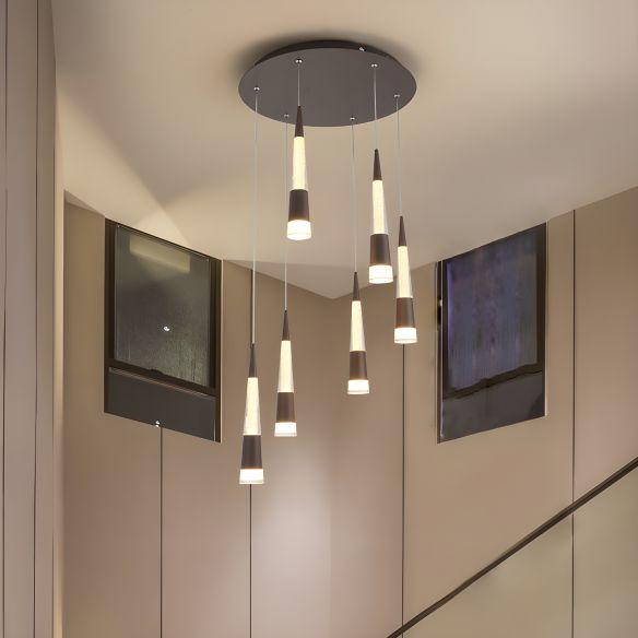 Modern Style Draping Multi Hanging Light Height Adjustable Aluminum 6 Bulbs Dining Room LED Pendant Lighting in Black/Gold Pendant Lights QKjsQ