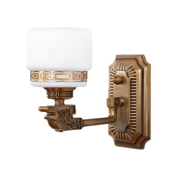 1-Head Cylindrical Wall Sconce Vintage Brass Milky Glass Wall Lighting Idea with Right Angle Arm Wall Lamps & Sconces xZLW4