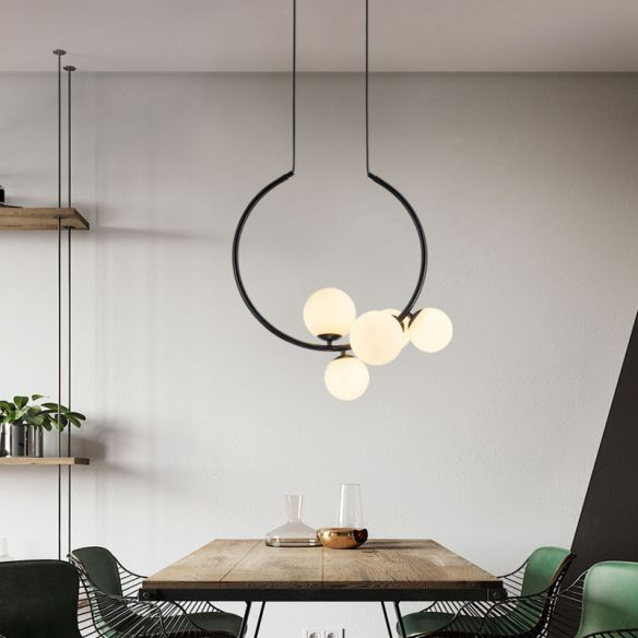 Black/White Open Circle Chandelier Lamp Modern Stylish 5 Heads Iron Pendant Lighting with Bubble Milk Glass Shade Chandeliers oNjvT