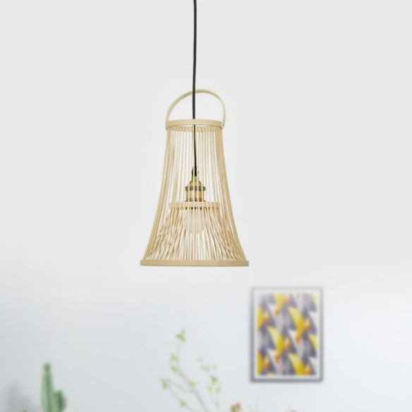 Bamboo Trumpet Shade Hanging Light Asian Style 1 Bulb Beige Pendant Ceiling Light with Arched Handle Pendant Lights PHeGW