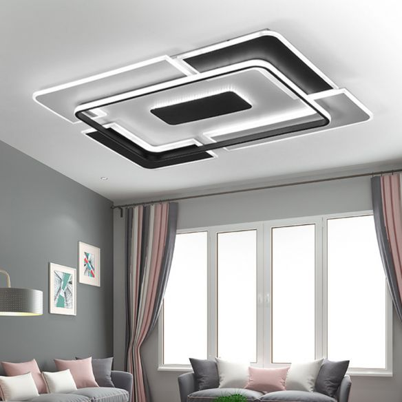 Contemporary LED Ceiling Fixture Aluminum Black and White Patchwork Rectangle Thin Flush Mount Light for Lounge Close To Ceiling Lights yBFz7