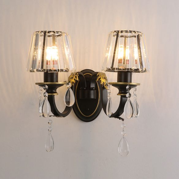 Contemporary 1/2-Head Wall Lamp with Crystal Prisms Shade Black Conical Wall Light Fixture Wall Lamps & Sconces ihrfJ