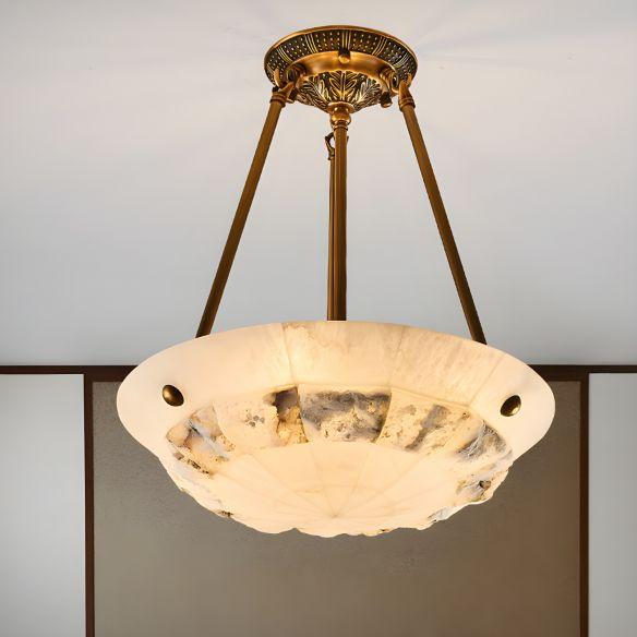 Vintage Patchwork Drum/Bowl Drop Lamp 4-Head Opal Matte Glass Ceiling Chandelier in Brass for Bedroom Chandeliers G1IC8