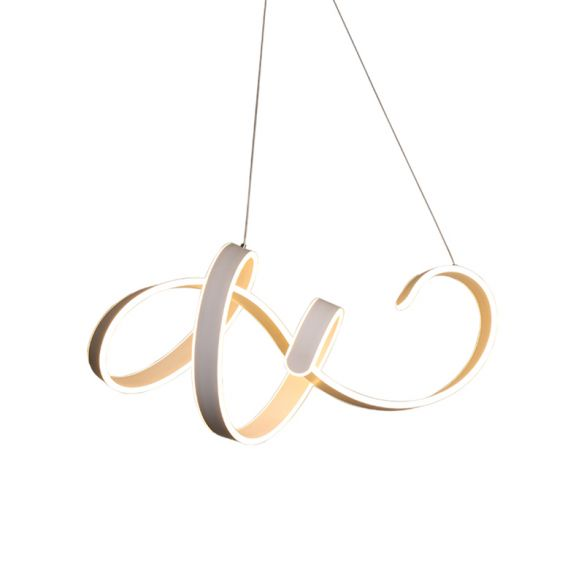 Winding Dinette Ceiling Chandelier Aluminum Simplicity LED Pendant Light Kit in Warm/White Light Chandeliers MILcz