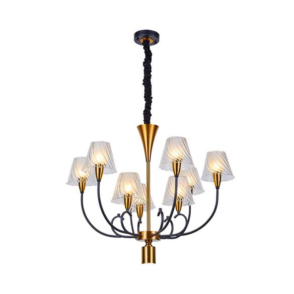 Black-Gold Conical Suspension Lamp Nordic Style 9 Heads Clear Ribbed Glass Ceiling Chandelier Chandeliers arfxU