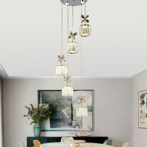 Modern Cylinder Hanging Lamp Faceted Crystal Dining Room LED Multi Light Pendant in Chrome with Round/Linear Canopy, 13.5