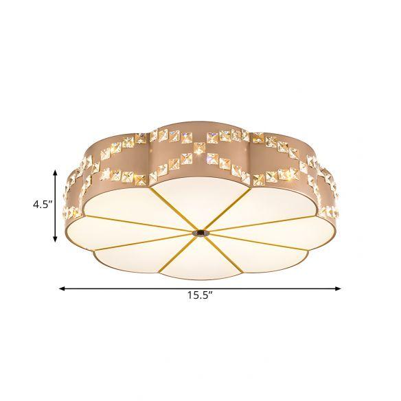 Clear Crystal Blocks Gold Finish Light Fixture Flower 15.5