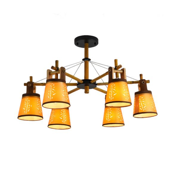 Tapered Fabric Chandelier Country Style 3/6/8 Bulbs Living Room Hanging Lamp Kit with Wood Shelf Design Chandeliers 5acd1