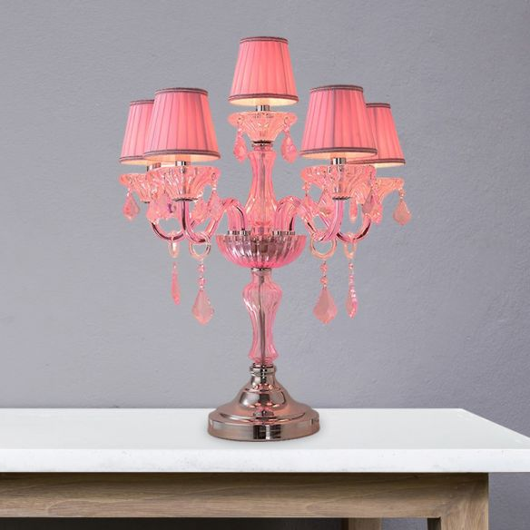 Candle Bedroom Table Light Traditional Crystal Spears 5/6/7 Bulbs Pink Nightstand Lamp with Pleated Fabric Shade Table Lamps nxkLW