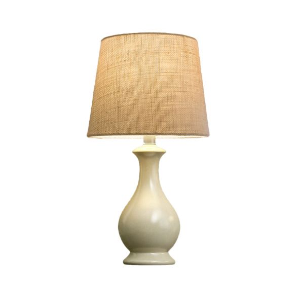 1 Bulb Conical Desk Lamp Countryside Beige Fabric Nightstand Light with White Vase Shape Base Table Lamps UDNBt