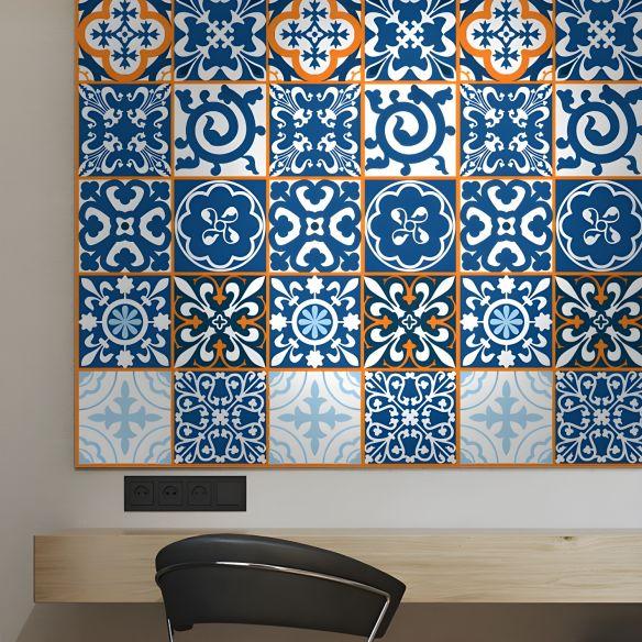 Moroccan Tiles Wallpaper Panel Set In Orange Blue Self Adhesive Wall Decor For Kitchen Orange Blue