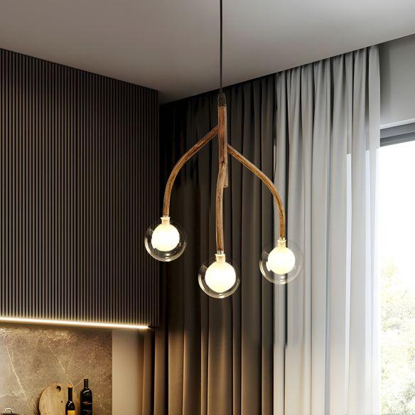 Clear Glass Beige Pendulum Lamp Molecular 3 Lights Warehouse Pendant Chandelier with Vine Design Chandeliers vRwsc