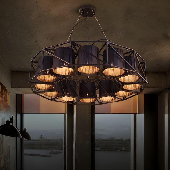 Black Multi-light Chandeliers Metal Round Vintage Hanging Fixtures for Living Room Chandeliers rWIKY