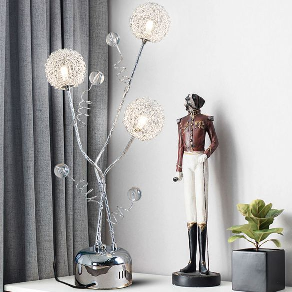 Metal Silver Desk Lamp Branching LED Art Decor Night Table Light with Dandelion and Modo Detail Table Lamps rLOf2