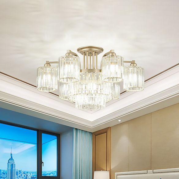 3/9-Light Cylinder Ceiling Lamp Modern Clear Crystal Semi Flush Mount Light Fixture for Bedroom Close To Ceiling Lights CoZW8