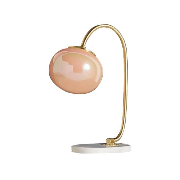 Gold Global Read Book Light Nordic Style 1-Head Pink Glass Night Table Lamp with Metal Gooseneck Arm Table Lamps vZBiL