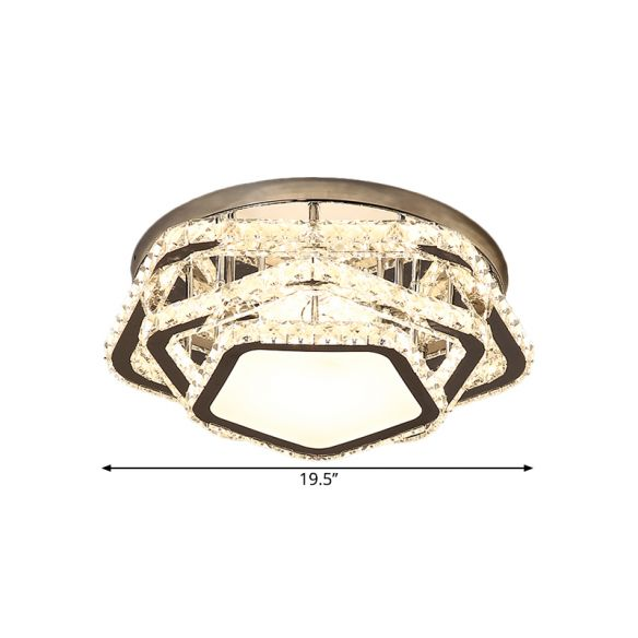 Star Beveled Crystal Ceiling Fixture Minimalism LED Chrome Semi Flush Mount in Warm/White Light Close To Ceiling Lights KBwGD