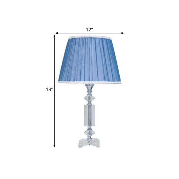 1 Bulb Tapered Pleated Shade Table Light Traditional Blue/Cream Gray/Beige Fabric Night Stand Lamp with Clear Crystal Base Table Lamps qmInU