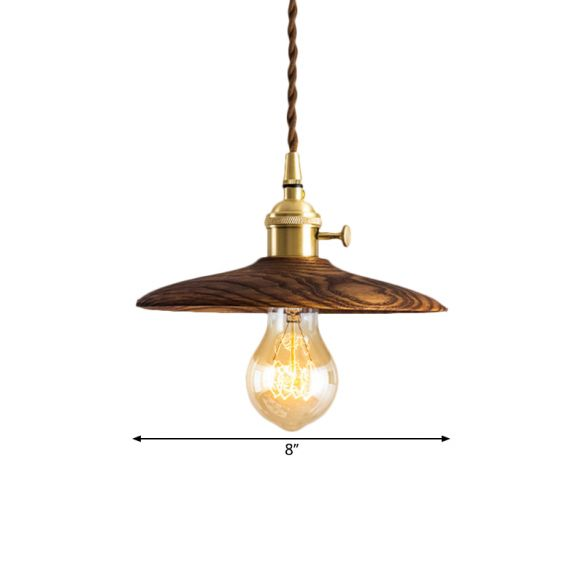 Contemporary Conical Hanging Lamp 1 Light Wood Suspension Light in Brown/Beige for Living Room Pendant Lights 3ospf