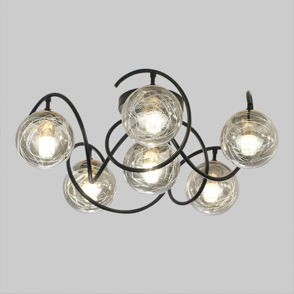 6 Bulbs Drawing Room Ceiling Lamp Simple Black Semi Flush Mount with Global Clear/Smoke Gray Glass Shade Close To Ceiling Lights qzdSc