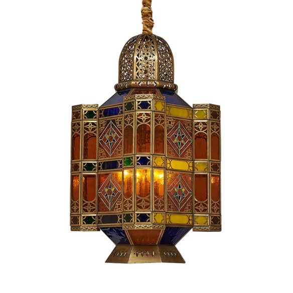 Etched Lantern Restaurant Ceiling Lamp Traditional Stained Art Glass 3 Heads Brass Hanging Chandelier Chandeliers toXFD
