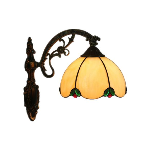 Hand Cut Glass Brass Wall Lamp Domed 1 Light Tiffany Wall Mount Light Fixture with Scrolled Arm Wall Lamps & Sconces v0gMS