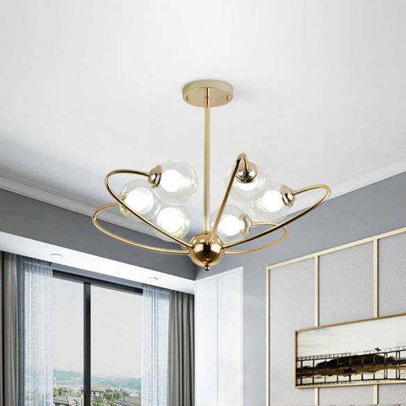 Gold Curved Arm Hanging Pendant Light 6/8/10 Heads Glass Shade Ceiling Chandelier Chandeliers GInoP