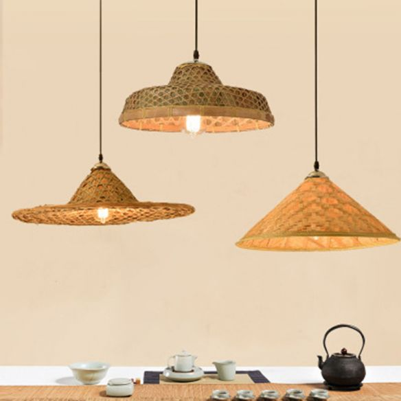 Wood Straw Hat Shaped Pendant Lamp, Asian Style Hanging Lamps