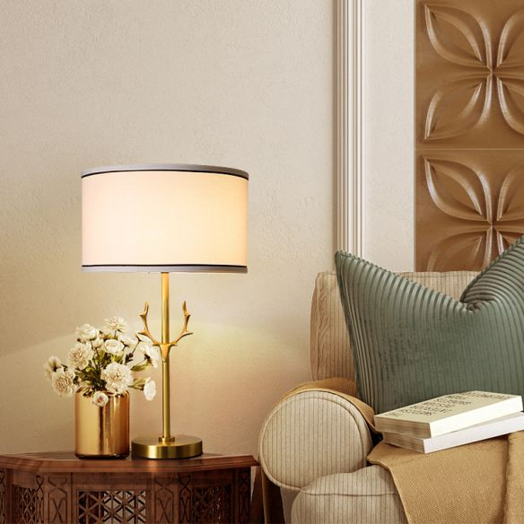 Fabric Drum Table Lamp Simplicity 1 Bulb Bedside ...