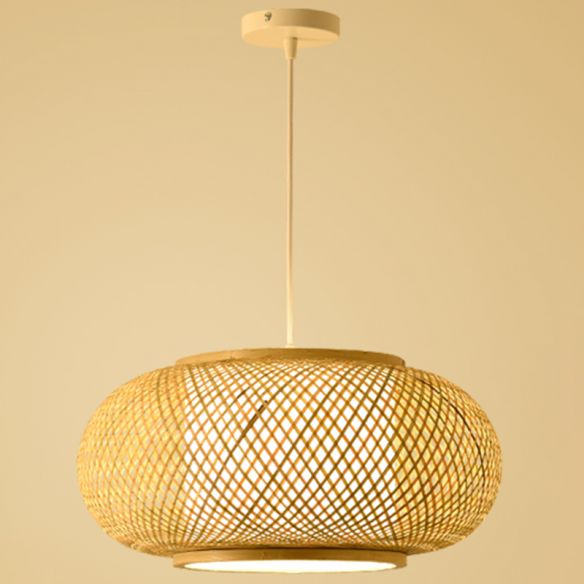 Bamboo Rattan Weaving Drum Suspended, Asian Style Hanging Lamps